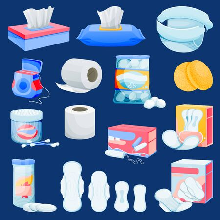 Illustration pour Personal hygiene supplies set. Vector flat cartoon illustration of hygienic and toiletries supplements. Womens facial beauty cleansing products. Kids care sanitary icons and design elements. - image libre de droit