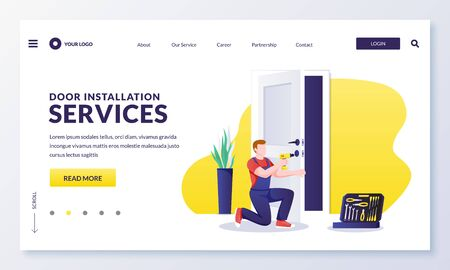Illustration for Door repair and installation service. Handyman makes door lock repair works with screwdriver. Vector flat cartoon character worker illustration. Home maintenance services concept - Royalty Free Image