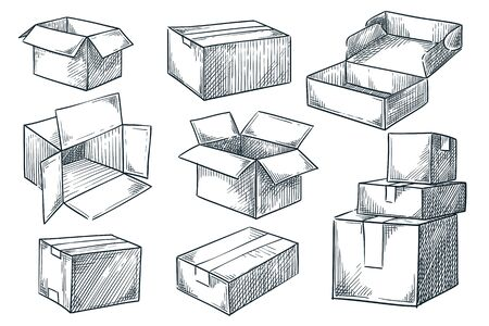Illustration pour Cardboard boxes set. Closed and open empty postal packages collection. Vector hand drawn sketch illustration. Pile of carton mailboxes, isolated on white background - image libre de droit