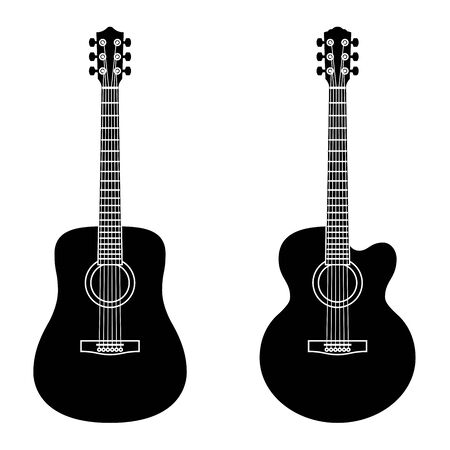 Illustration pour Acoustic guitar. Musical instrument. Silhouette icons - image libre de droit