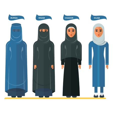 Types Of Traditional Muslim Women Clothing Burqa Niqab Chador Hijab Arabic