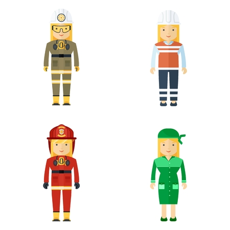 Set of woman working professions. Miner and fireman, master of service and worker. Flat vector cartoon illustration. Objects isolated on a white background.