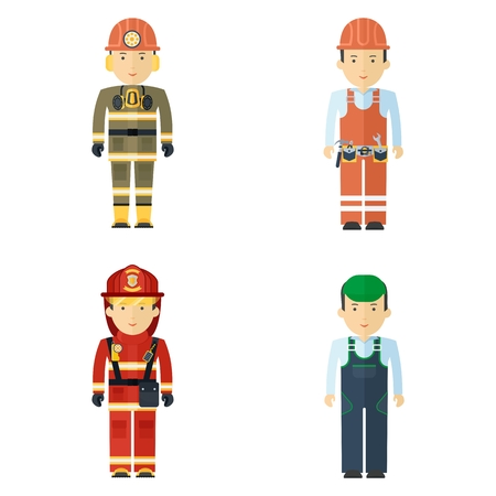 Set of working professions. Miner and fireman, master of service and worker. Flat vector cartoon illustration. Objects isolated on a white background.