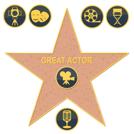 walk of fame star. Flat vector cartoon illustration. Objects isolated on a white background.