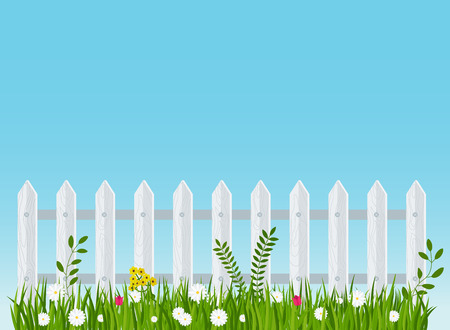 A Wooden Fence A Hedge Near With A Flower Bed Scene Landscape