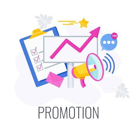 Illustration pour Promotion business concept. Messages fly from a megaphone - image libre de droit