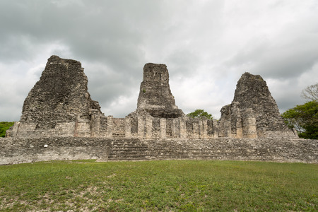 the three Rio BEc style tower ruins of the archaeological site of Xpujil in the state of Campeche,Mexico