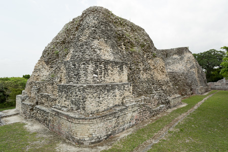 pyramid ruins at the Becan archaeological site, Campeche,,Mexico