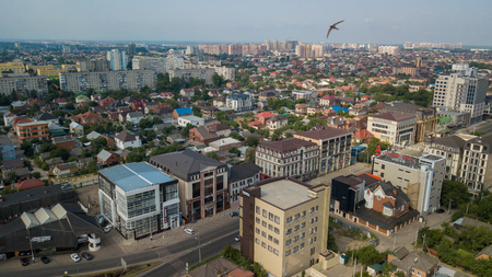 Krasnodar Russia Abstract Aerial Drone Footage Of Rooftops And Streets In The Center Of Krasnodar City Russia Royalty Free Images Photos And Pictures
