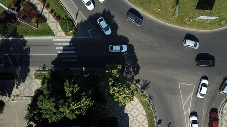 City roads from above - modern urban roundabout intersection