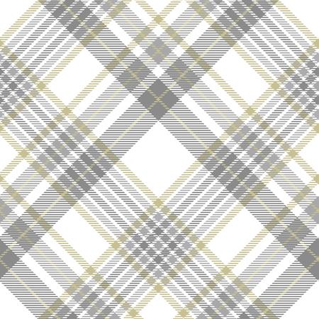 Illustration pour Plaid pattern in gray, white and golden tan. - image libre de droit