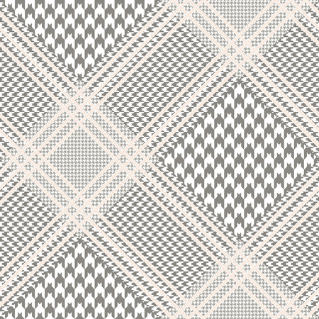 Illustration for Prince of Wales pattern in taupe and white with beige overcheck. Seamless glen plaid fabric texture. - Royalty Free Image