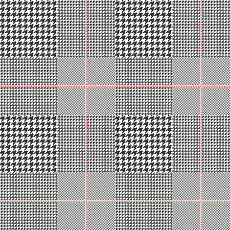 Illustration for Prince of Wales pattern in classic black and white with red overcheck. Seamless glen plaid fabric texture. - Royalty Free Image