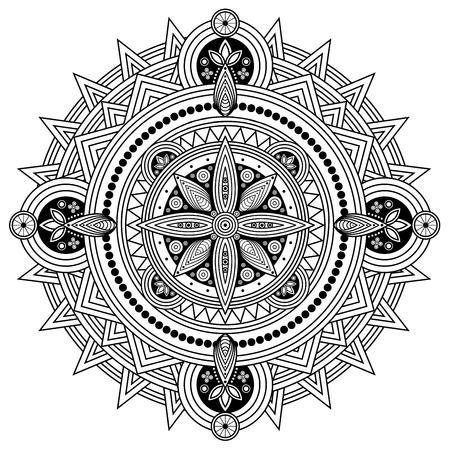 Ilustración de Oriental mandala in black and white. Coloring page illustration. - Imagen libre de derechos