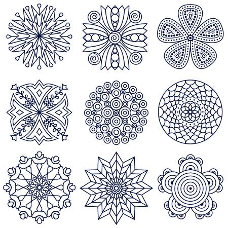 Illustration pour Set of nine mandala patterns. - image libre de droit