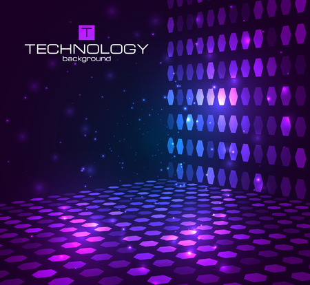 Illustration for Abstract hexagonal background. Retro disco stage. Vector illustration for your banners,templates. - Royalty Free Image