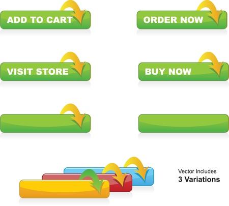 Illustration pour Add to Cart, Order, Buy Now and Visit Store Buttons - image libre de droit