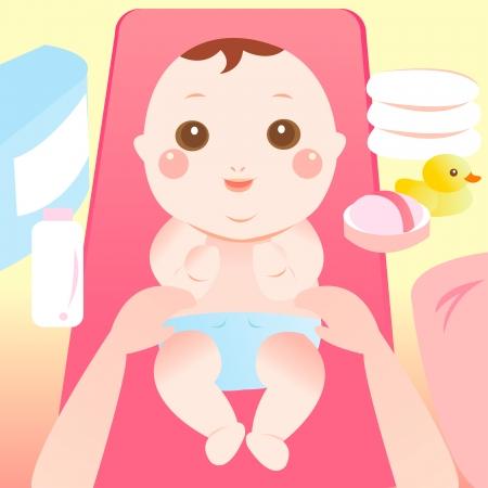 Illustration pour baby changing diaper - image libre de droit