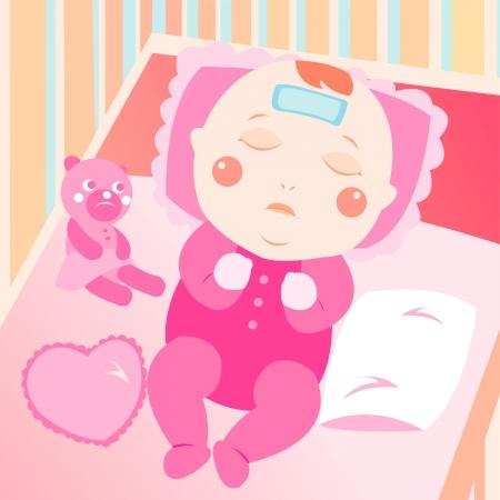 Illustration pour sick baby on the bed - image libre de droit