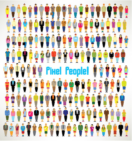 a large group of pixel people gather together vector icon designのイラスト素材