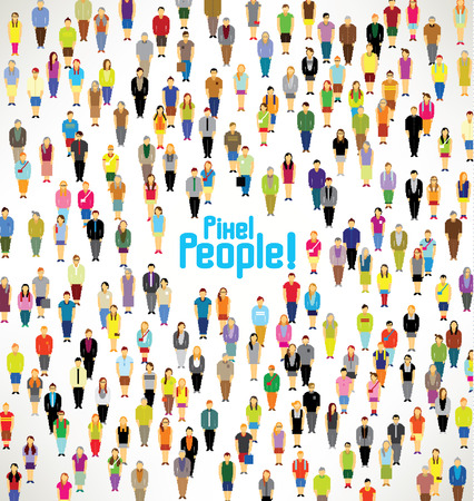 Illustration pour a large group of pixel people gather together vector icon design - image libre de droit