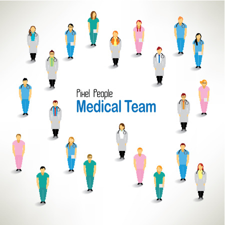a large group of medical team gather together vector icon design
