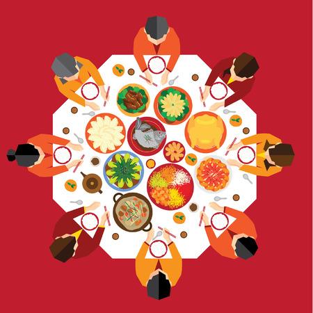 Vektor für Chinese New Year Reunion Dinner Vector Design - Lizenzfreies Bild