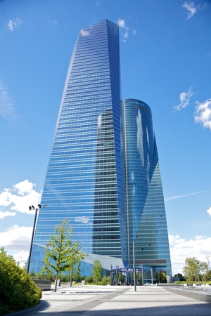 business crystal skyscrapers in Madrid city Spain