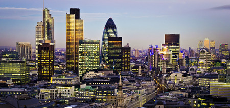 City of London one of the leading centres of global finance.This view includes Tower 42 Gherkin,Willis Building, Stock Exchange Tower and Lloyds of London and Canary Wharf at the background.