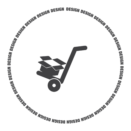 manual cart with cardboard box vector icon