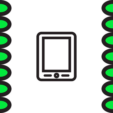 Tablet sign line vector icon. Touchscreen pad symbol.
