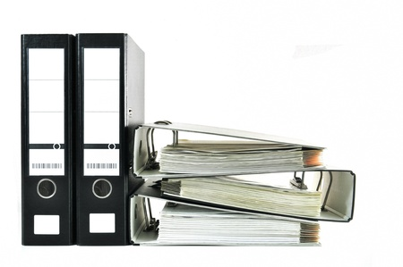 Black office files with documents isolated on white
