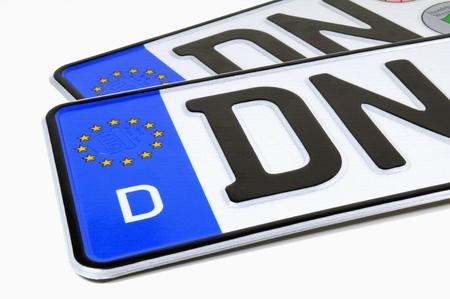 License plates on white background