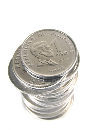 Philippines Peso Coins on white background
