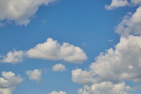 Photo pour Sky clouds. Blue aerial landscape on light background. Empty background scene. Panoramic view. Sky blue background. Urban scene. Sunny day, blue sky. Wide angle. Wide panorama. Aerial view. Sky clouds. - image libre de droit