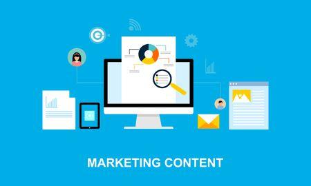Illustration pour Flat design content marketing system illustration logo - image libre de droit