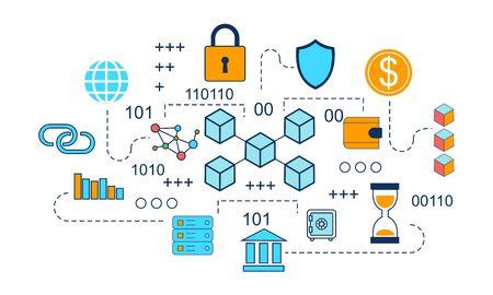 Illustration pour Blockchain infographic concept, business technology illustration vector - image libre de droit