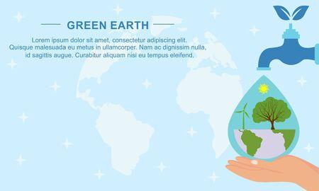 Illustration pour Flat design plants ecology green world concept composition illustration - image libre de droit