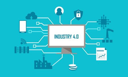 Illustration for Industry 4.0 illustration revolution flat design illustration - Royalty Free Image