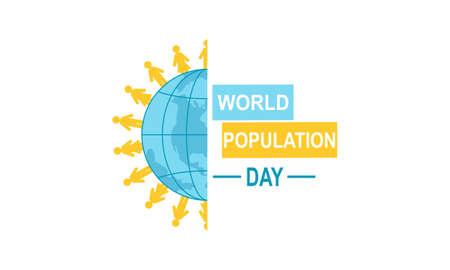 Illustration pour Flat world population day illustration - image libre de droit