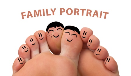 Photo pour Happy family portrait of finger smileys , isolated on white - image libre de droit