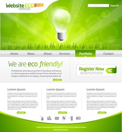 Green eco website layout template