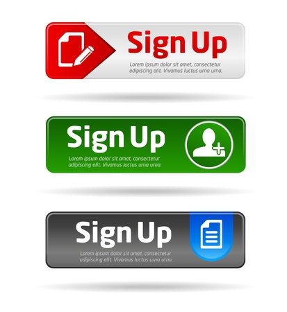 Sign up button collection