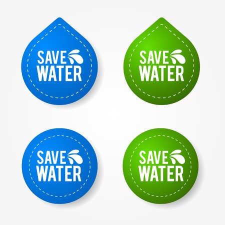 Colorful save water badges and stickers