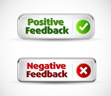 Illustration pour Positive and negative feedback colorful banner buttons - image libre de droit