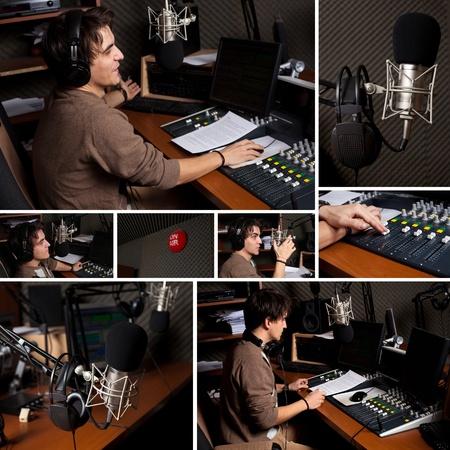 Collection of radio dj man indoor at radio studio