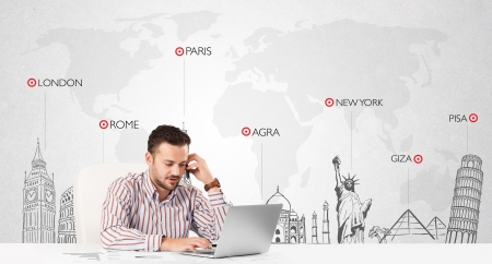 Handsome young businessman with world map and major landmarks of the world