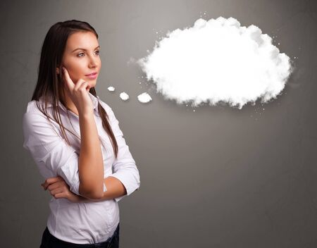 Photo pour Pretty young lady thinking about cloud speech or thought bubble with copy space - image libre de droit