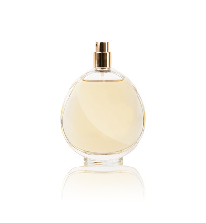 women's perfume in beautiful bottle isolatedの写真素材