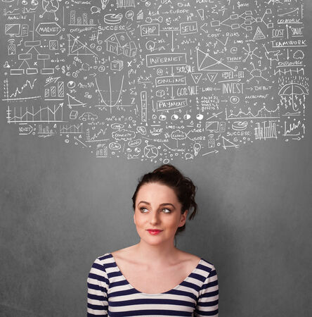Thoughtful young woman with sketched charts over her head